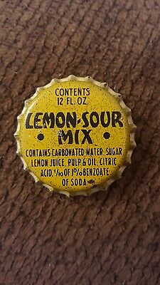 Vintage LEMON SOUR MIX bottle cap cork lined