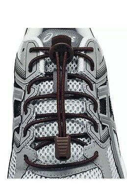 ONE LOCK LACES (Elastic No Tie Shoelaces) (Brown, 48-Inch) New