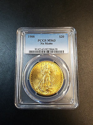 1908 No Motto Double Eagle $20 Gold St Gaudens Gold Coin Pcgs Ms63 Gorgeous!