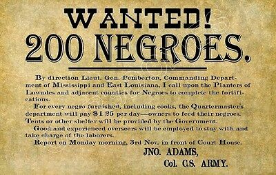 1865 Civil War Store Counter Standup Sign Wanted 200 Negroes Confederate Slavery
