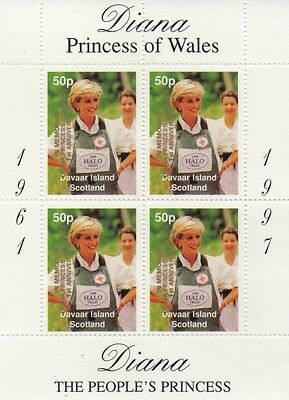 Lady Diana Princess Of Wales Davaar Island Scotland Overprint Mnh Stamp Sheetlet
