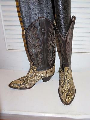 Womens Justin Cream,gray,brown Snakeskin Western Boots W/gold Hardware Size 7B
