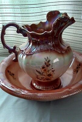 Water Pitcher And Basin Brown White Large Floral Transfers Pearl Ceramic