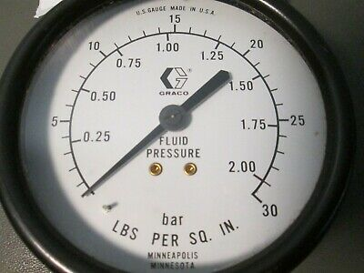 Graco Fluid Pressure Gage .25-2.00 Bar, 0-30 PSI