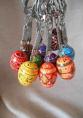 Set of 10 Keychains Small Ukrainian Painted Wooden Easter Eggs Ukrainian Pysanky