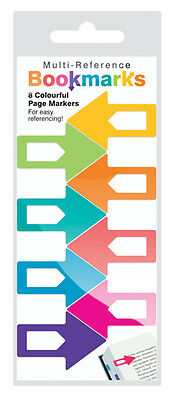 COLOURFUL MULTI REFERENCE BOOKMARKS (PACK OF 8) Home Office Student Stationary