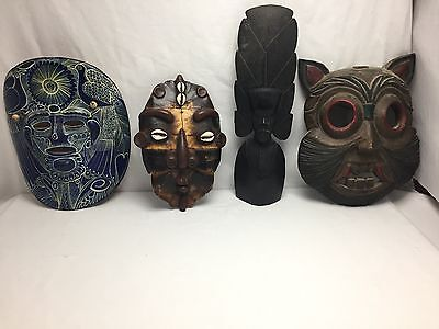 Vintage 4 Pc Mask Lot  Ebony / Terra Cotta / Carved Wood Mask Papua New Guinea
