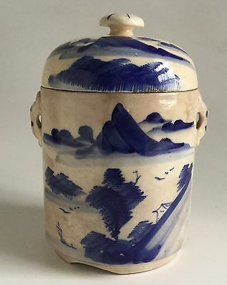 Stunning Large Chinese 19th c Blue & White Porcelain 3 pic Tea Caddy