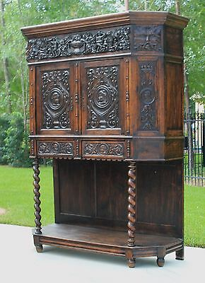 Antique French BARLEY TWIST Vestry Wine Liquor Cabinet GOTHIC Server Bookcase