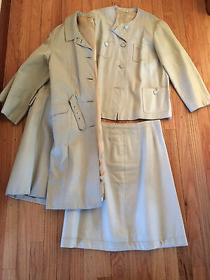 Vtg 1960s Leather 3 Piece Suit - Coat, Jacket, & Skirt Set Light Gray Details Lg