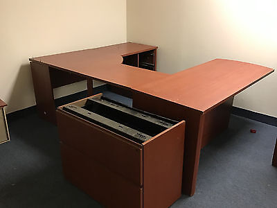 USED- Cherry Laminate U Shape Office Desk with Hutch