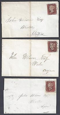 Uk Gb Scotland 1843 Three Imperf Penny Reds Tied Maltese Cross In Black On Cover