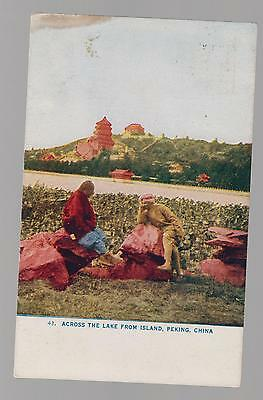 1909 China Picture postcard cover mailed in USA Lake in Peking scene
