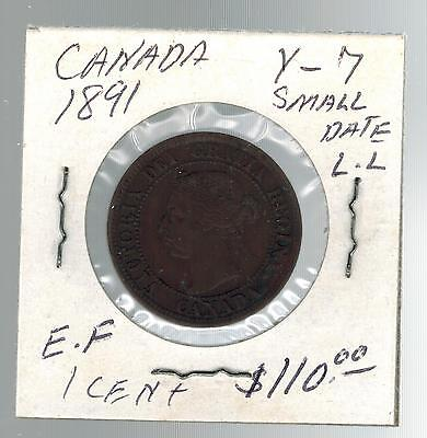 1891 Canada One Cent  large Penny coin # Y 7 Small Date LL
