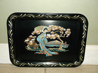 Vintage Hand Painted Asian Style Figural Stenciled Tole Tray