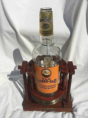 Vintage Old Grand-Dad Gallon Bottle with Wood Tilt Display Stand Bourbon Whiskey