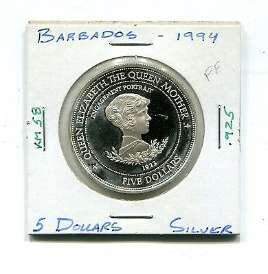 Barbados : Silver 5 Dollars 1994 Proof  (KM 58) - Engagement