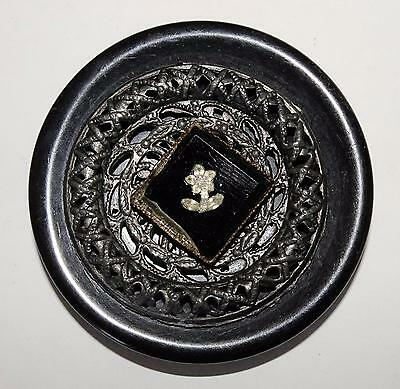 Antique Button Black Catalin w/Metal Design & Precision Inlay Flower on Bl Glass