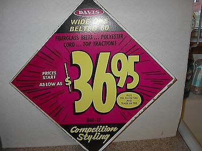 Vintage Davis Tires Promotional Cardboard Sign Store Advertisement Automobile