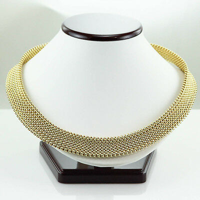 High End Heavy Wide Mesh Necklace 18K Yellow Gold 68.2 Gram Made In Italy