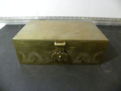 Antique Chinese Solid Brass Carved Dragon Wood Lined Cigar Humidor