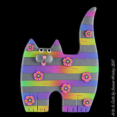 Standing Silver Kitty Cat with Colorful Stripes & Spring Flowers Pin - SWris