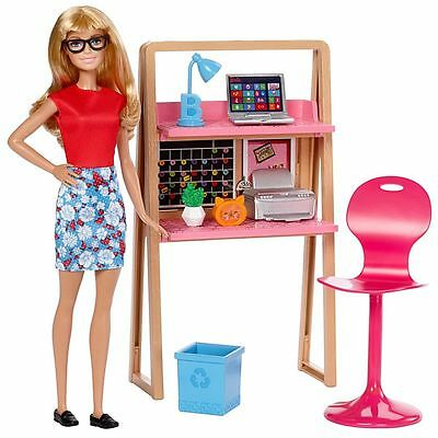 2017 Barbie Doll & Home Office / Work from Home Set NEW