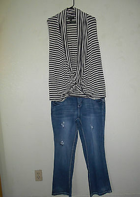 Women's Lot of Plus Size Cato Boot cut Jeans sz 16W, Crossover Top size 1X  New