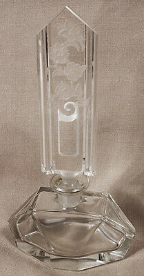 """Vintage Hand Cut Glass Etched Perfume Bottle  8"""""""