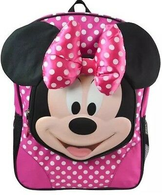 """Disney Minnie Mouse Polka Dot Pink Bow Large School 16"""" Molded Face Backpack"""