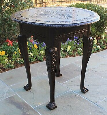 Antique French Oak VICTORIAN Highly Carved ROUND Sofa Entry Hall Center Table