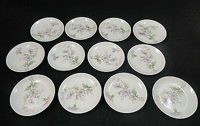 12PC Antique Haviland Limoges Purple Japanese Thimbleweed Butter Pat Set