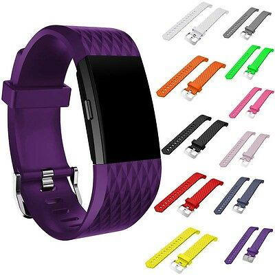 Replacement Silicone Diamond Pattern Sports Wrist Band Strap For Fitbit Charge 2