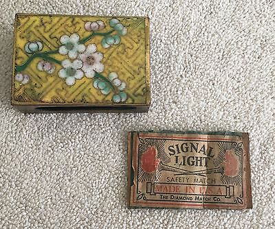 Old Chinese Cloisonne Enamel on Brass Matchbox Cover ~ Asian Yellow Floral