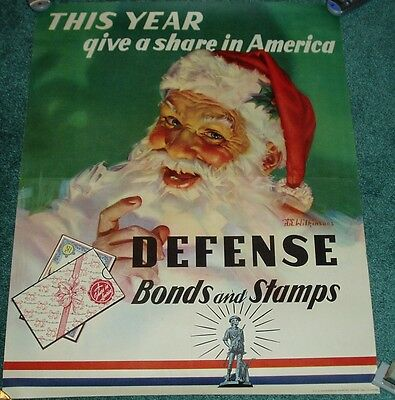 Ultra Rare Pre War 1941 Santa Claus Us Savings Bonds & Stamps Poster