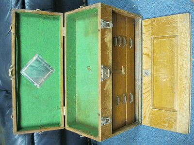 VINTAGE  UNION  MACHINIST WOOD TOOL BOX With Key GERSTNER