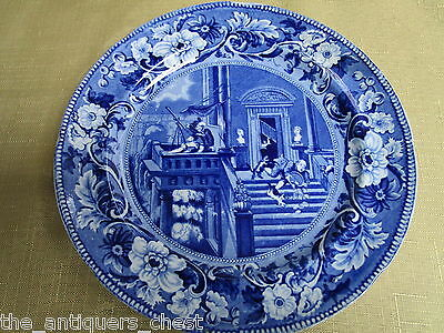 """1800s Clews Staffordshire Blue Transfer Plate """"Doctor Syntax Stargazing""""  [a*1]"""