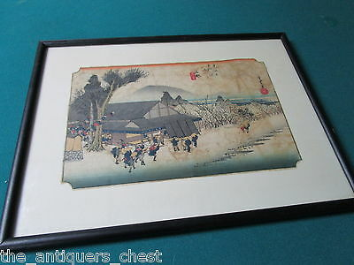 Antique Japanese Woodblock stamped and signed on side by artist and gallery