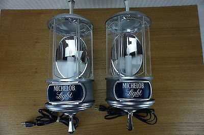 SET of Matching '82 Michelob Lights Beer Crystal Lamps / Wall Sconce/ Signs