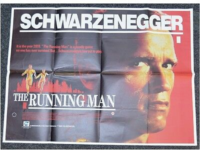Running Man 1987 Original UK Quad Movie Poster Arnold Schwarzenegger