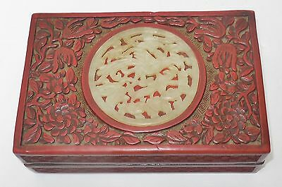 Chinese Antique Red Cinnabar Covered Trinket Box Top With Jade Asian China