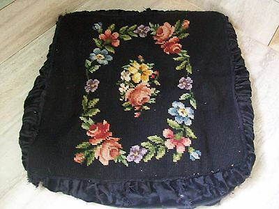 Antique Needlepoint Chair Footstool Cover Black Velvet Roses Floral