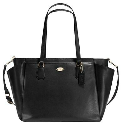 Coach Baby/diaper Bag In Black Crossgrain Leather F35702, New With Tag
