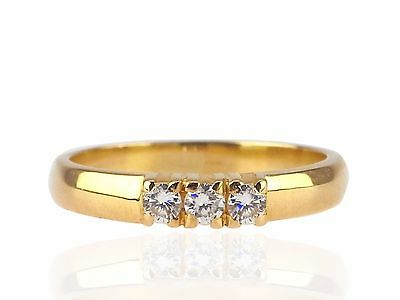18 K 750 Gelb Gold 0,15 ct Brillant Dreierstein Band Damen Ring