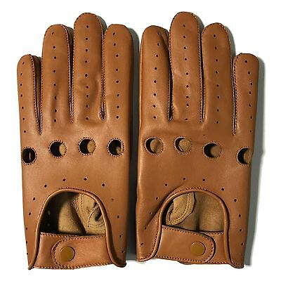 Mens Classic Driving Gloves Soft Genuine Real Lambskin Leather Cognac