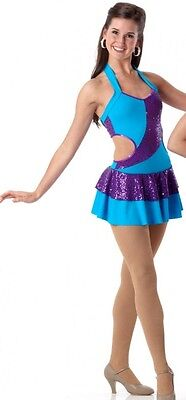 Part Of Me Dance Costume TURQUOISE Tap Dress Ice Skating Clearance Adult Large