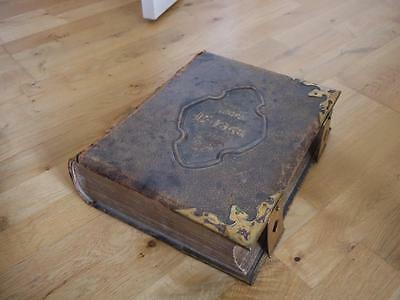 Huge Antique Family Leather Bound Holy Bible With Brass Fittings By Rev Eadie