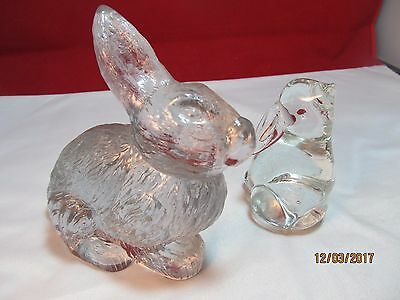 Pair of Vintage Clear Glass Bunny Rabbits