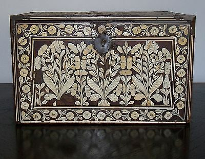 Large Antique Mughal Inlaid Wooden Chest India 17TH CENTURY wood Museum Quality