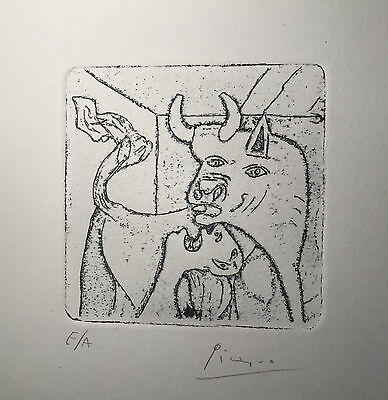Pablo Picasso Rare Lithograph Hand Signed Vintage Bull and Man